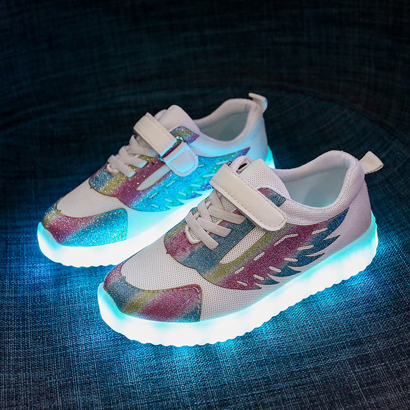 USB Charge Light Up Kids Sneakers Glitter Toddler Girls Led Children Glowing Shoes Sneakers Wings Mesh Tennis Boys Sport Shoes