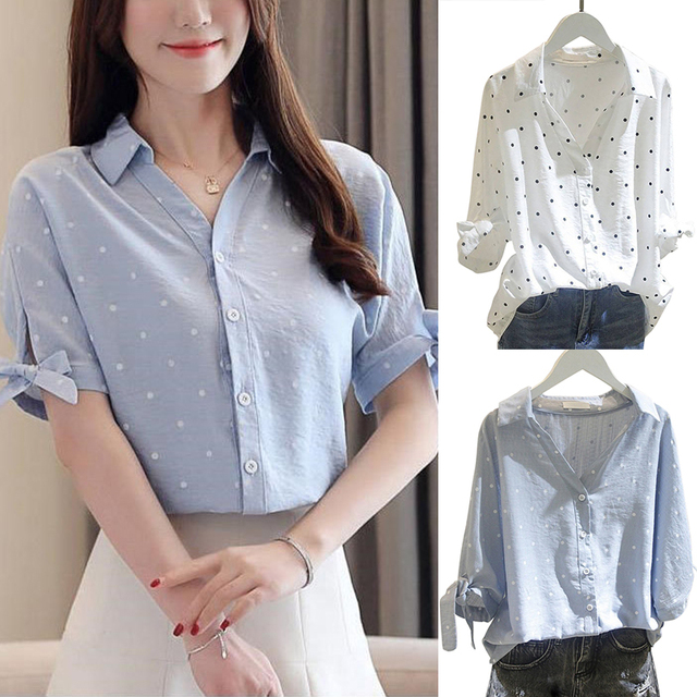 Women Tops and Shirts Half Sleeve V-neck Button Blouse Polka Dot Loose Solid Office Lady Elegant White Shirts Tops Plus Size 5XL 1