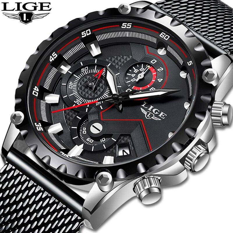 Relogio Masculino LIGE Top Brand Luxury Mens Fashion Watch Men Sport Waterproof Quartz Watches Men All Steel Army Military Watch