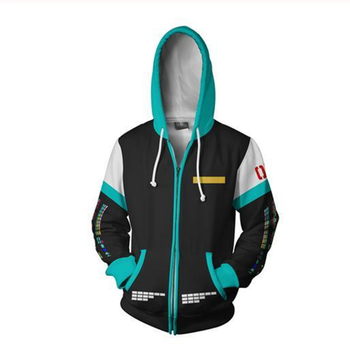 Anime Vocaloid Hatsune Miku Hoodies Cosplay Costumes 3D Print Zipper Jacket Casual Hooded Sweatshirt new 2019 vocaloid hatsune miku cosplay costume snow miku cosplay fancy dress full set carnival halloween costumes for women s xl