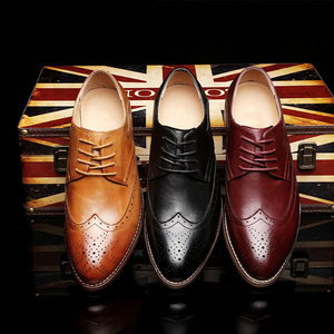 Image 3 - 2020 Men leather shoes casual genuine leather fashion high quality luxury designer Men Brogue Shoes