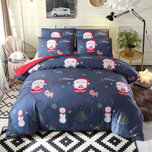Christmas Bedding Set Printed Duvet Cover King Queen Size Sets Quilt Cover Deer Comforter Covers 3Pcs 260x230(China)