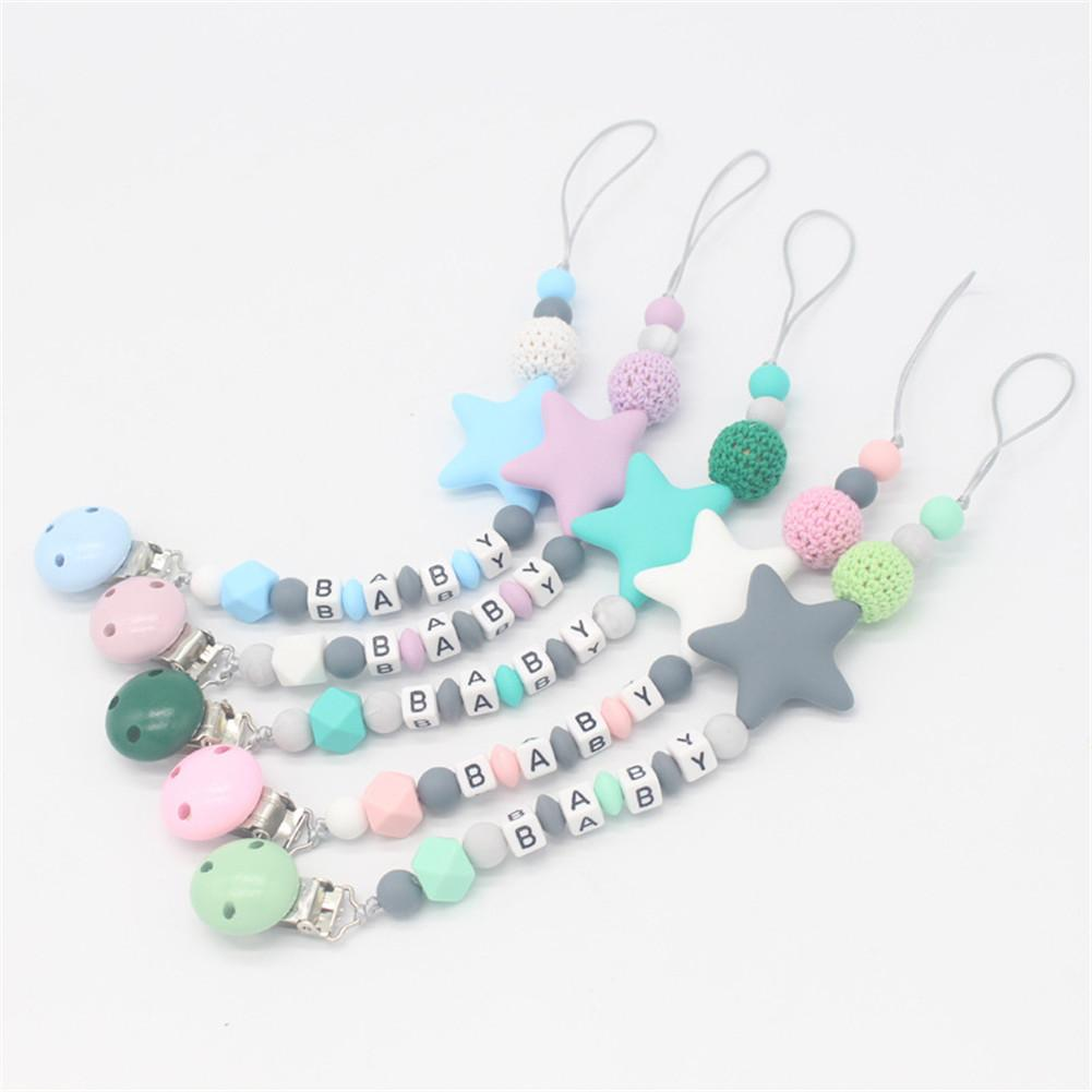 Colorful Silicone Fashion Letter Pacifier Clips Funny Chupetero Chain For Infant Feeding Toddle Chew Toy Clips BPA Free