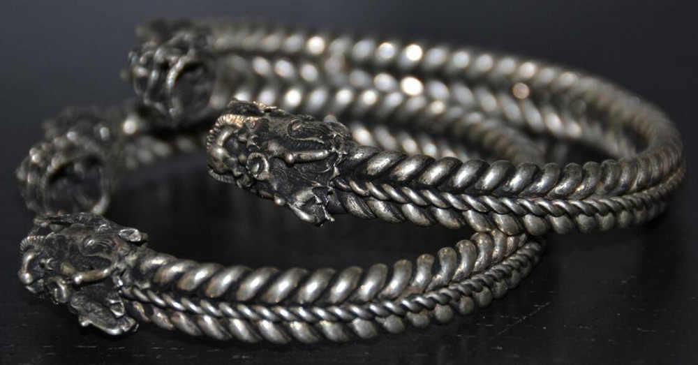 1010 + + + rzadko tybet srebrny rzeźbiony smok bransoletka męska bransoletka
