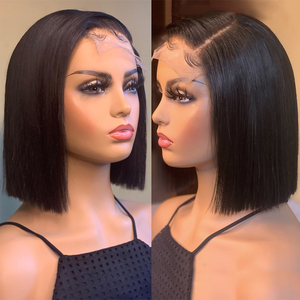 Image 3 - Jaycee 4x4 קצר בוב פאות תחרה סגירת פאה ישר שיער טבעי פאות עבור נשים שחורות 150% alipearl שיער Perruque cheveux Humain