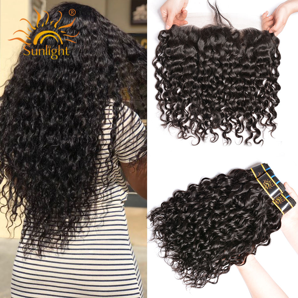 Sunlight Peruvian Water Wave 3 Bundles With Frontal Non-Remy Hair Extensions Natural Human Hair With 13x4 Remy Lace Closure
