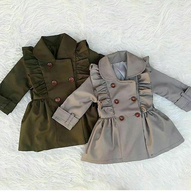 PUDCOCO Toddlers Girl Bandage Casual Jacket Windbreaker Dress Coat Long Ruffle   Trench   Outwear 2-7T