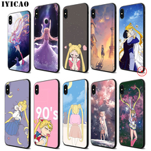 IYICAO Sailor moon Anime Soft Black Silicone Case for iPhone 11 Pro Xr Xs Max X or 10 8 7 6 6S Plus 5 5S SE