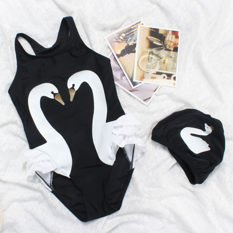 2019 Spring And Summer New Style Flamingo Bathing Suit CHILDREN'S Swimsuit Set Cartoon Black Swan GIRL'S Swimsuit One-piece Swim