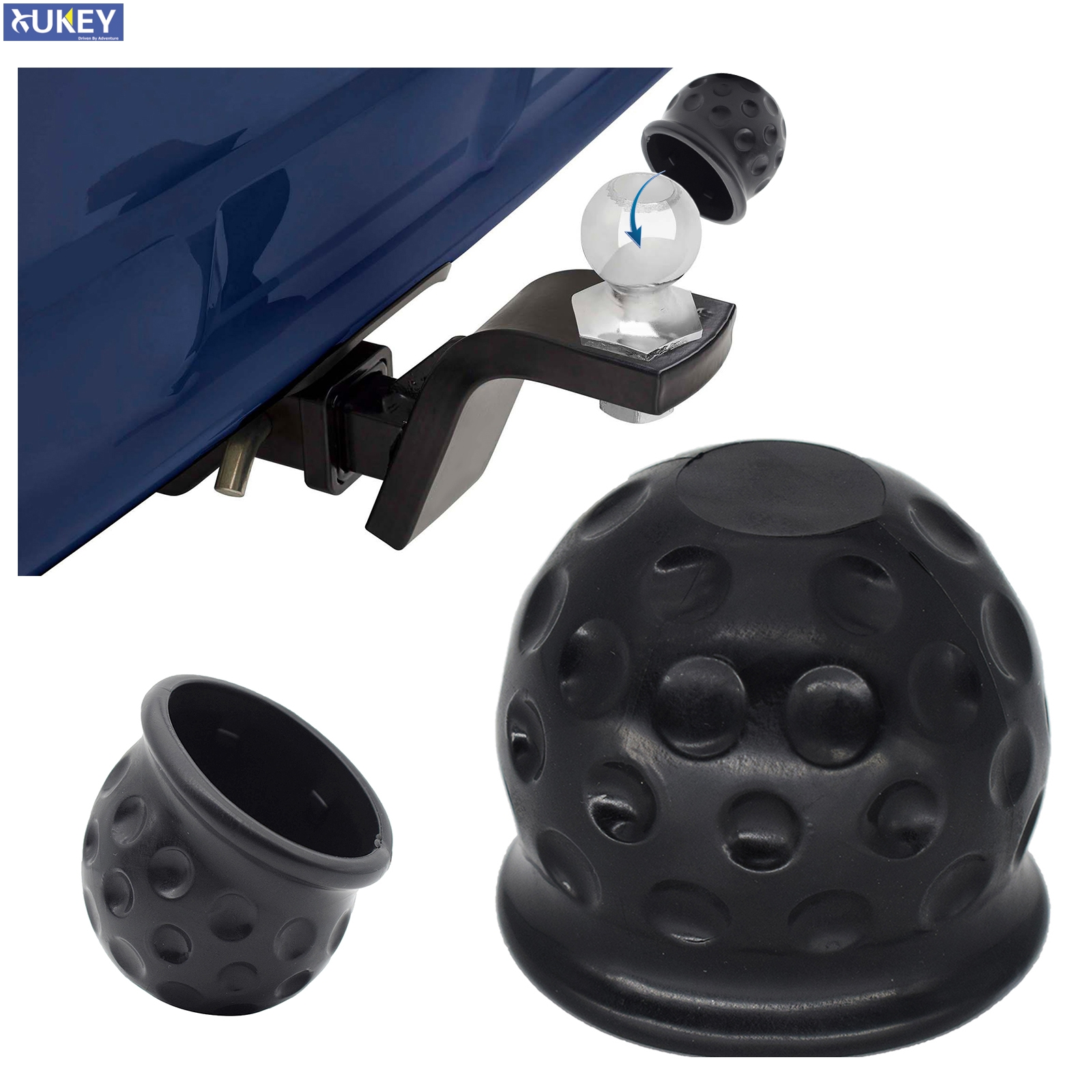 Tow Bar Cap Towing Hitch Trailer Ball Cover Caravan Truck Trailer Towball Protect 50Mm Rubber Black Universal Car Accessories