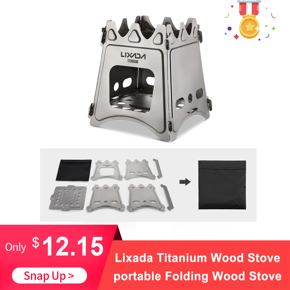 Lixada Titanium Wood Stove Compact Folding Wood Stove For Outdoor Camping Cooking Picnic Backpacking Firewood Burning Stove