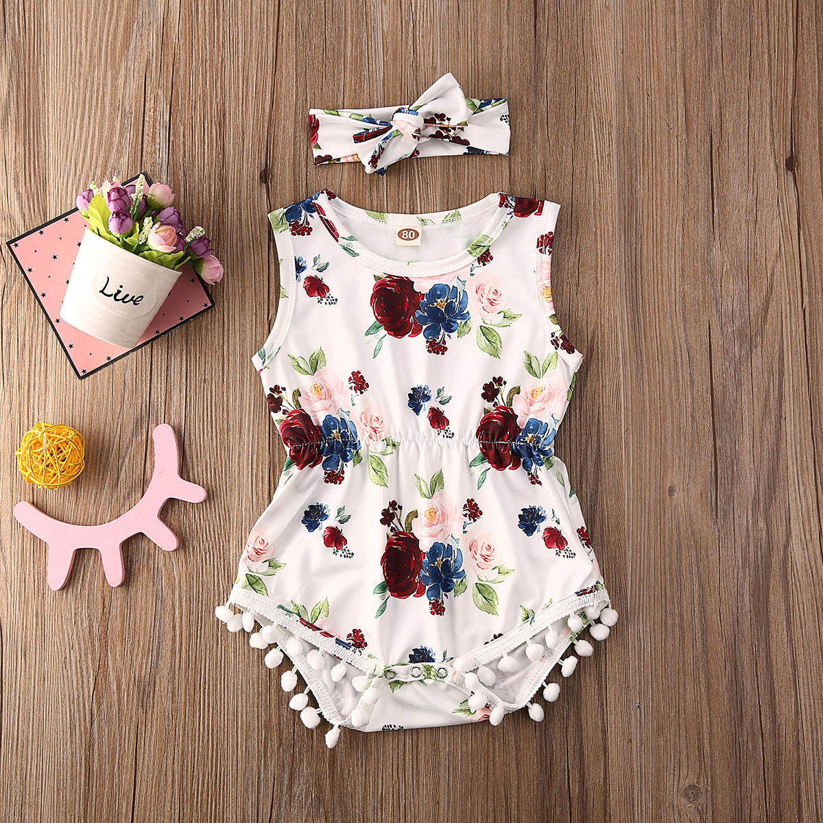 Emmababy Newborn Baby Girl Clothes Sleeveless Flower Rose Print Tassels Romper Jumpsuit Headband 2Pcs Outfits Cotton Sunsuit