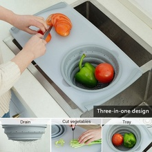 Household telescopic multi-function sink cutting board cut fruit and vegetable kitchen drain storage basket