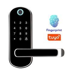 Tuya Aplikasi Sidik Jari Smart Lock, APP Tahan Air Tombol Kode PIN Keypad Kunci Pintu Elektronik, Biometrik Remote Control Lock