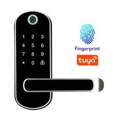 Tuya app impressão digital bloqueio inteligente, wifi app botão à prova dwifi água pincode teclado eletrônico fechadura da porta, controle remoto biométrico