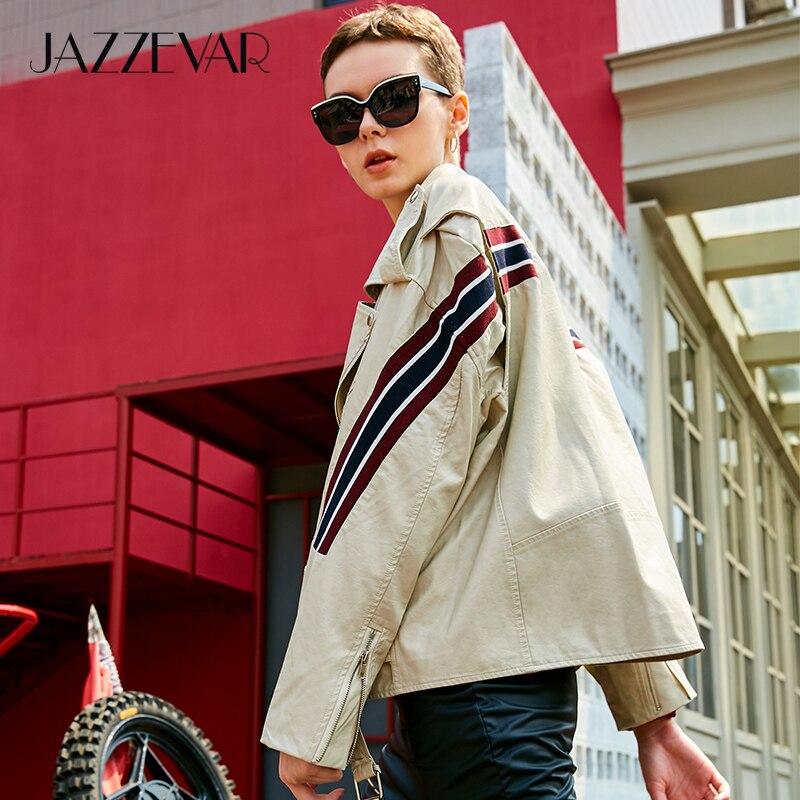 JAZZEVAR 2019 New Autumn High Fashion Street Women's Washed PU Leather Jacket Motorcycle oversized Jackets Good Quality YA7018(China)