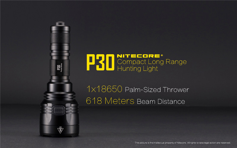 Тактический фонарь NITECORE P30 1000 люмен, водонепроницаемый, без аккумулятора 18650, портативный фонарь для кемпинга, охоты, 2019