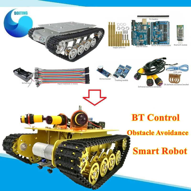 <font><b>TS100</b></font> Bluetooth Control Obstacle Avoidance Robot <font><b>Tank</b></font> Chassis Shock absorbing Crawler Car Mobile Robot Controled by Phone image
