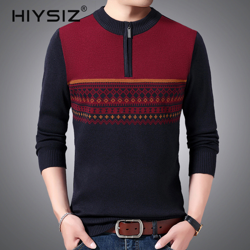 HIYSIZ Brand Pull homme Streetwear knitted casual mensweater men pullover warm printed sweaters autumn winter clothes H3029