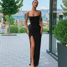 Cryptographic Sexy Women's Maxi Dresses Strap Backless Split Long Dress