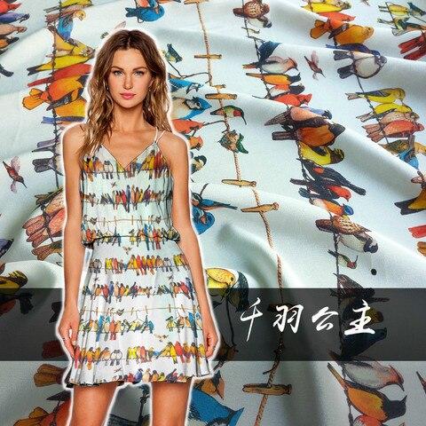 Camisa de Seda Medidor de Tecido de Seda Digital de Tinto Jato de Seda Crepe de Tecido 140cm de Largura Digital Impressa Pano