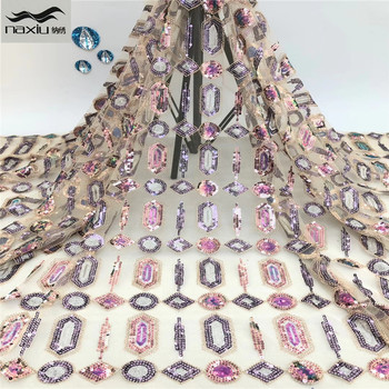 Madison African Lace Fabric 2020 High Quality Lace Sequins French Net Lace Tulle Mesh Fabrics Latest Pink Color Lace Fabrics