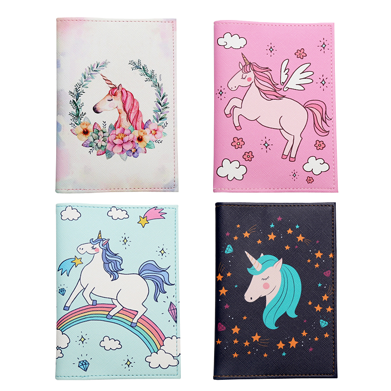 Cartoon Unicorn Rainbow Horse Pattern Passport Covers Multi-function Air Ticket Card Clip Wallet Leather Travel Passport Holders