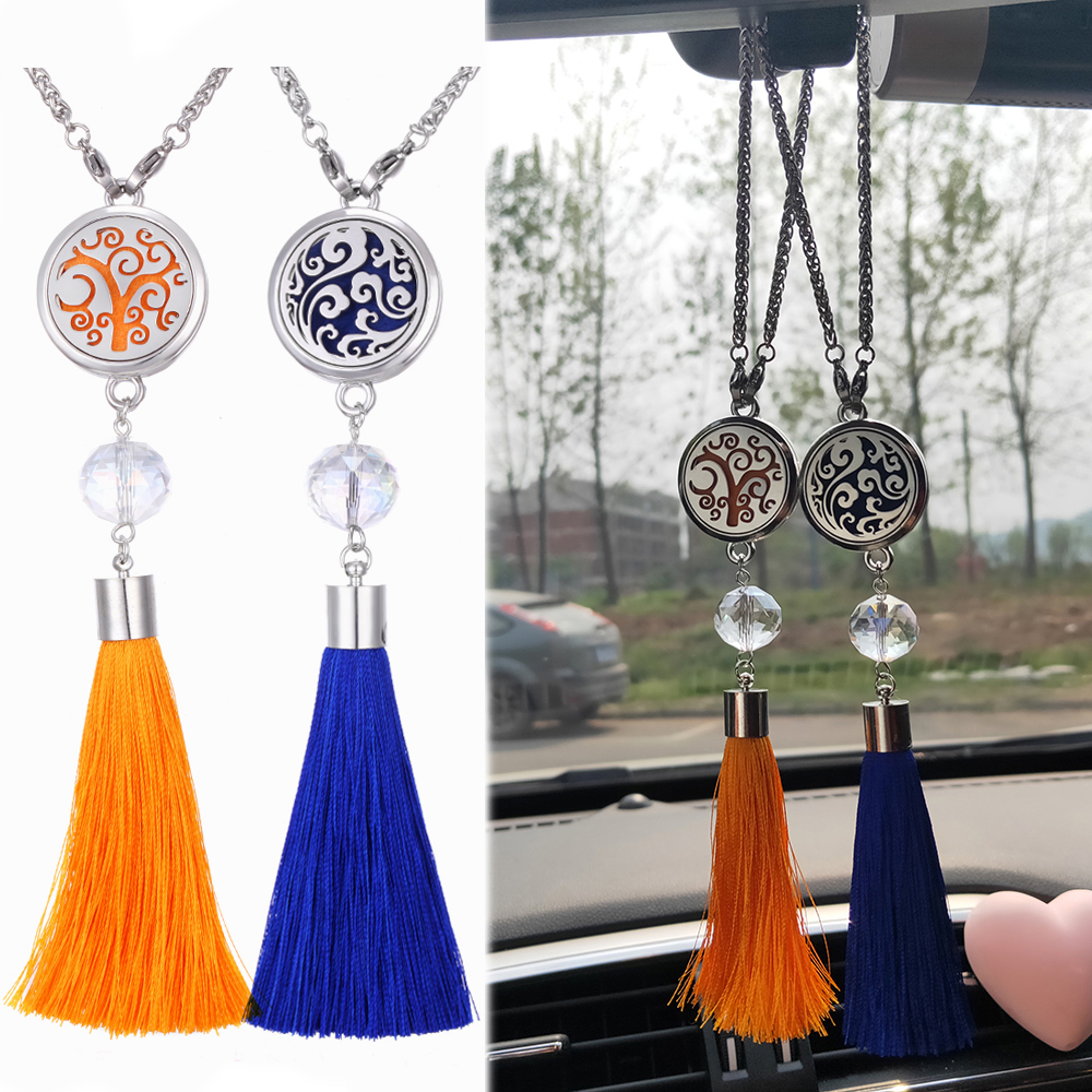 New Car Pendant Hanging Perfume Ornaments 316L Stainless Steel Tassel Car Pendant Accessories Rearview Mirror Car Air Freshener
