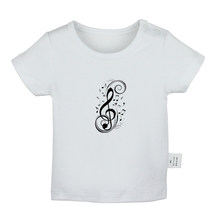 Retro Art Music Notation Treble Clef Violin Horse Design Newborn Baby T-shirts Toddler Graphic Solid Color Short Sleeve Tee Tops(China)