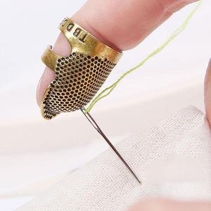 Retro Handworking Sewing Thimble Finger Protector Needlework Sewing Accessories Tools Sewing DIY Brass Metal Household Thim J8N7(China)