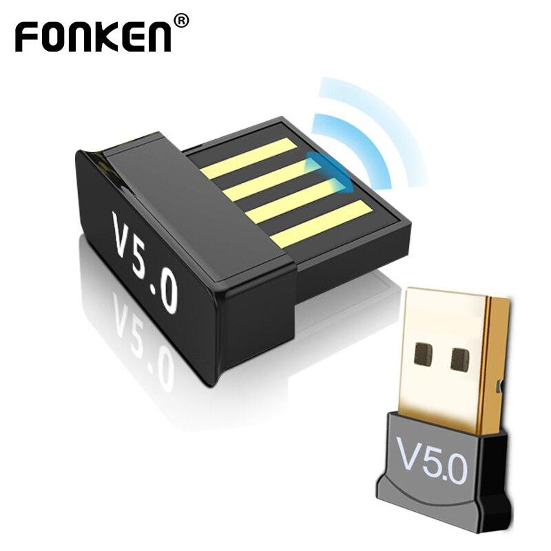 FONKEN 2in1 USB بلوتوث 5.0 محول ملحقات الكمبيوتر اللوحي سيارة الصوت جهاز استقبال للموسيقى التلفزيون USB دونغل بلوتوث سماعة محول