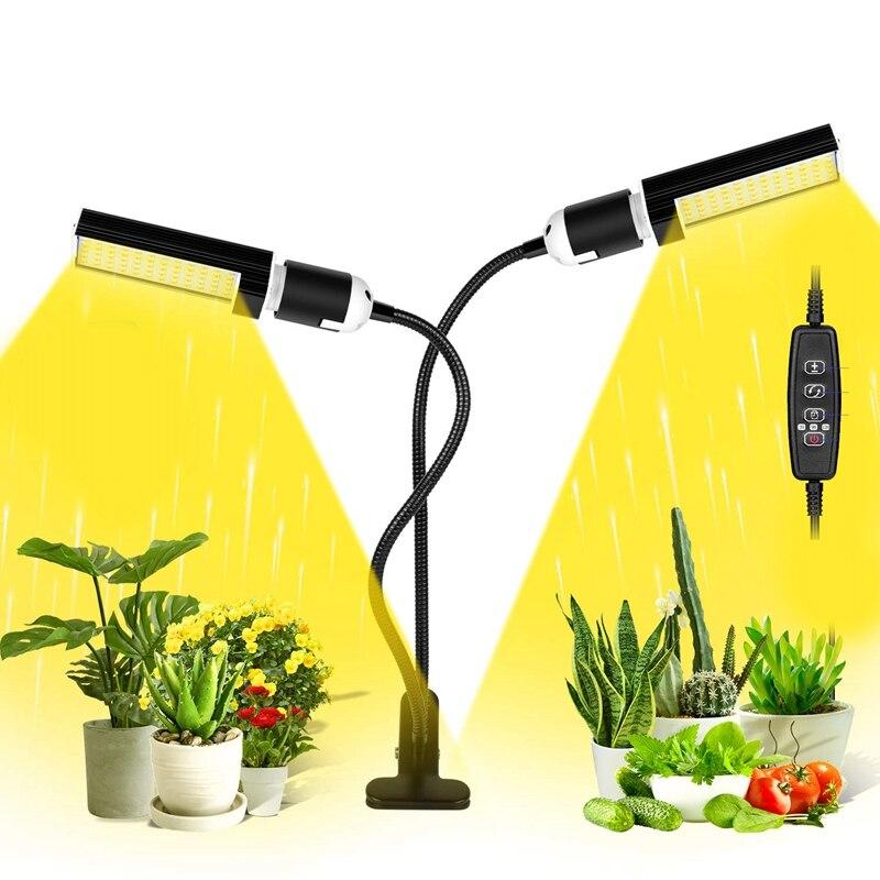 ( Update) 60W Led Grow Light Bulb For Indoor Plants, Super Bright 120 Leds Sunlike Full Spectrum Grow Lamp White, Dual Head Go