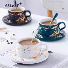 Taza de café de mármol de estilo nórdico Serie de Oro mate tazas de té de cerámica lujoso Bar Vintage regalo de San Valentín fiesta de boda