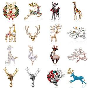 Rinhoo Cute Little Deer Brooches for Women Deer Animal Brooches Pins Coat Lapel Jewelry Gift Christmas Reindeer Wreath Corsages