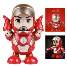 Marvel Avengers Toys Dance Iron Man Action Figure Toy LED Flashlight with Sound Hero Electronic for kids