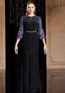 Image 3 - J9066 jancember o pescoço manga três quartos vestido de noite na turquia caixilhos lace vestido azul marinho noite платье вечернее длинное