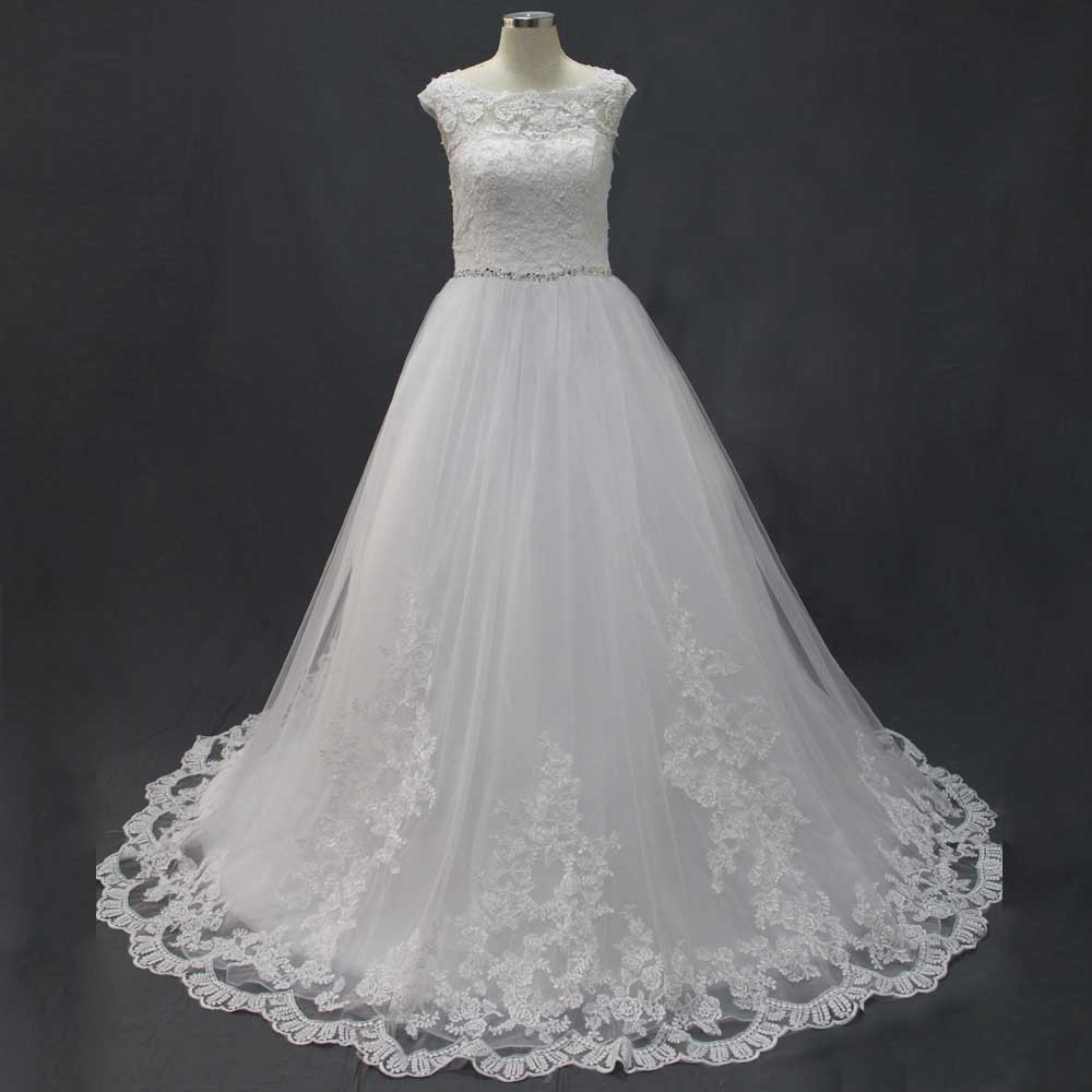 WONDERFUL WHITE EMPIRE REAL PHOTOS SCOOP SHORT SLEEVES ORGANZA AND TULLE APPLIQUES BEADS LACE WEDDING DRESSES NEW