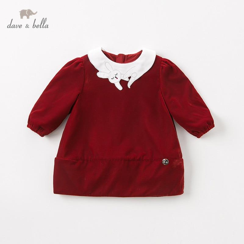 DB11746 dave bella winter baby girl's princess cute rabbit solid dress children fashion party dress kids infant lolita clothes