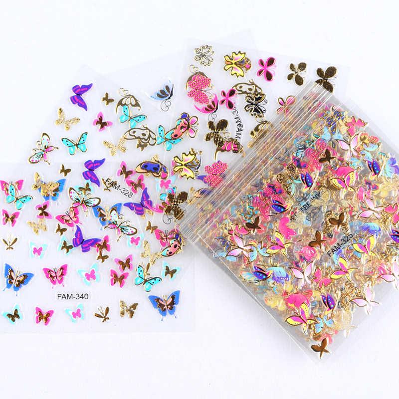 30Pcsเล็บสติกเกอร์ผีเสื้อดอกไม้หัวใจผสมรูปร่างที่มีสีสันเล็บDecalsแฟชั่นการออกแบบตกแต่งเล็บRIKONKA