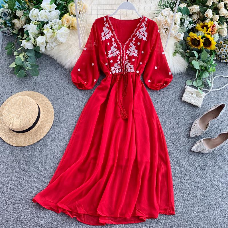 Fitaylor New Vintage Women Floral Embroidery Chiffon Long Dresses Summer V Neck Puff Sleeve Red Dress Lady Casual Beach Dress