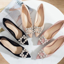 2020 حذاء امرأة 3.5 سنتيمتر عالية الكعب النساء الكريستال مشبك حجر الراين قطيع بوينت تو الصنادل الحفلات مكتب سيدة فستان مضخة حجم كبير