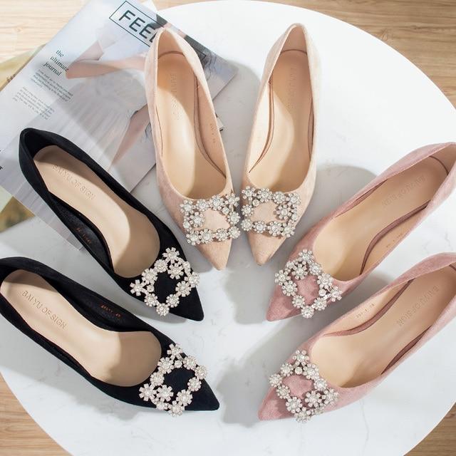 2020 Shoes Woman 3.5cm High Heels Women Crystal Buckle Rhinestone Flock Point Toe Party Sandals Office Lady Dress Pump Plus Size