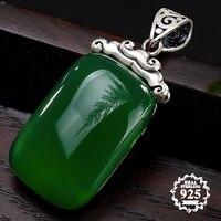 NOT FAKE S925 Fine Antique shop store Pendants Emerald Pendant Luxury Taste Handmade Vintage Natural Chalcedony moldavite perido