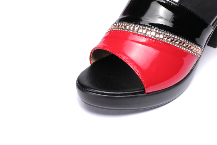 GKTINOO Women Slipper's 2021 Ladies Summer Slippers Genuine Leather Shoes Women High Heels Fashion Rhinestone Summer Shoes