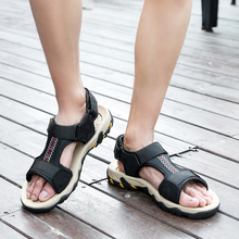 BIMUDUIYU New Fashion Summer Leisure Beach Men Sandals High Quality Leather Sandal Male Outdoor Shoes Large Sizes 46 47