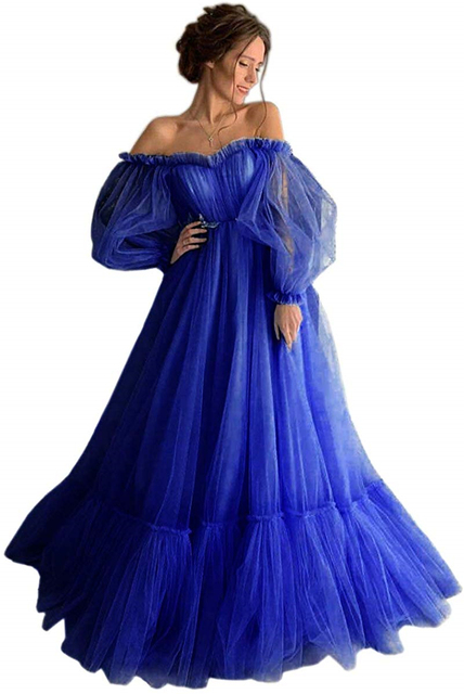 LORIE Blue Prom Dresses Long Sleeve Off the Shoulder Princess Dress 2020 Tulle Lace-up Formal Evening Party Dresses Plus Size 5