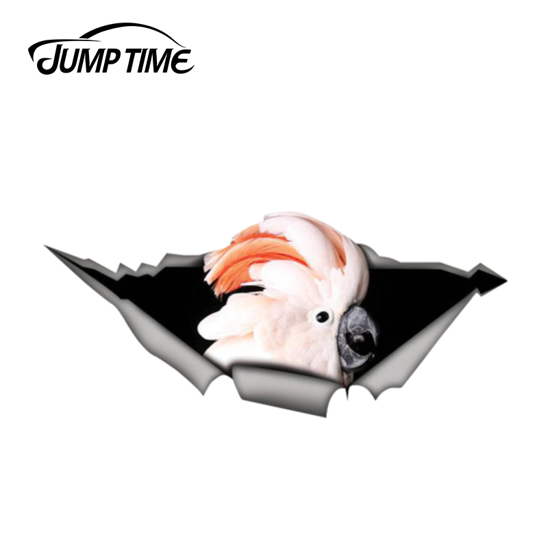 Jump Time 13cm X 5.9cm Cockatoo Parrot Sticker Torn Metal Decal Wild Animal Funny Car Stickers Window Bumper 3D Car Styling