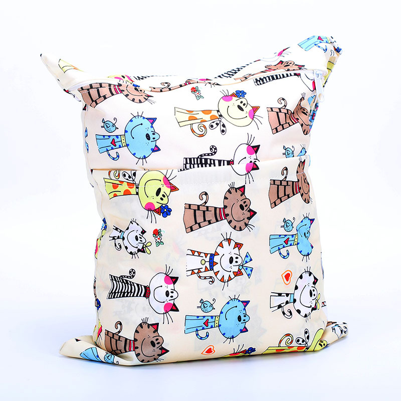 Paradise Double Zipper Printed Snap Closure-Diaper Bag-Cartoon Cat Pattern Suitable Outside Electricity Supplier