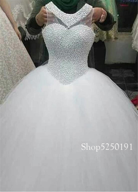 Exquisite Tulle Jewel Neckline Ball Gown Wedding Dresses With Pearls Beading Sleeveless Lace Appliques Bridal Gowns 2021 2
