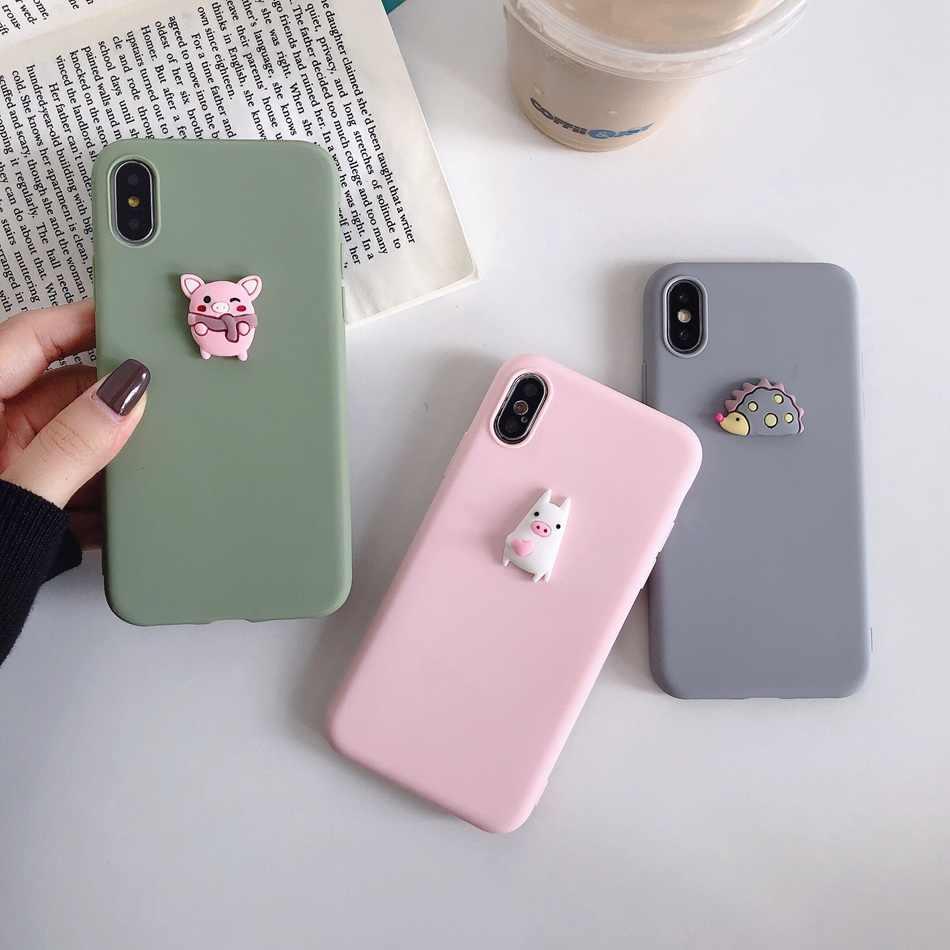 Per il iPhone 11 7 XR 11 Pro XS Caso di Max Torta Della Pizza Della Copertura di DIY Per il iPhone 7 6s 5 8 più 3D Maiale Sveglio Del Cane Panda Bear Kawaii Custodia Morbida